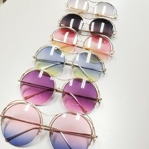 Accessories - Fashion Round Oceanic Fade Color Lens & Metal Ring